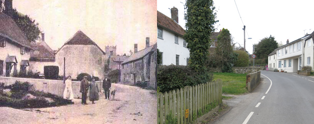 Sixpenny Handley before the fire of 1892 and 2014