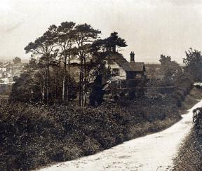 Chalke road with view of Old Rectory and horse and cart