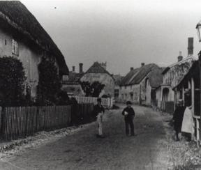 Sixpenny Handley High Street with thatch