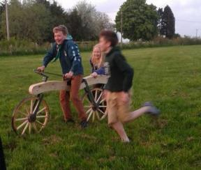 Fun on a wooden bike